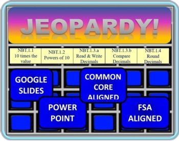 Jeopardy 5th Grade Common Core / FSA Place Value and Decimals