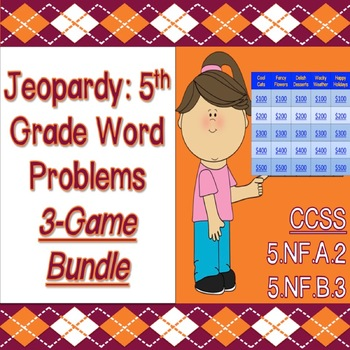 Jeopardy: 5th Grade Word Problems 3-Game Bundle (CCSS & PARCC Aligned)