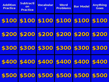 Jeopardy - Addition and Subtraction Concepts