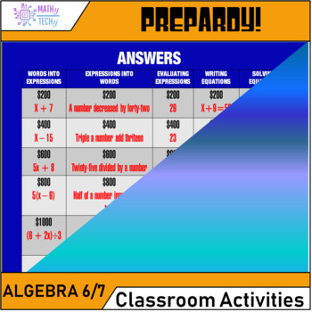 Jeopardy - Algebra Expressions and Equations (Grade 6 and 7)