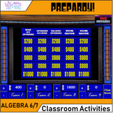 PREPARDY! Math Test Prep Game - Algebra Expressions and Equations (6.EE)