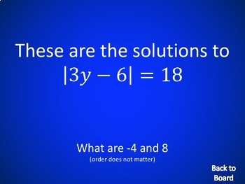 Algebra Review Game: Equations, Inequalities, Absolute Value