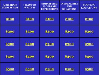 Algebra Review: Math Jeopardy Game Show