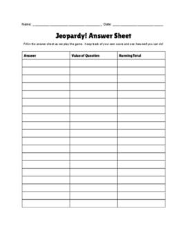 Jeopardy! Answer Sheet