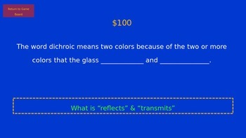 Jeopardy Art game--for Fused Glass (Dichroic) Jewelry--H.S. Art--Easy to Modify!