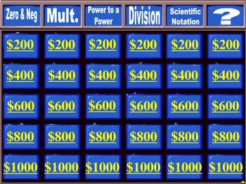 Jeopardy Bundle: Linear graphing, exponents, polynomials, quadratics, systems