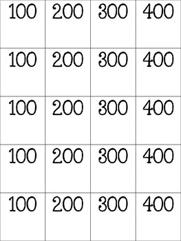 Jeopardy Cards Template- Easy to Use! Any Grade! Any Subject!