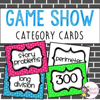 Jeopardy Category Cards