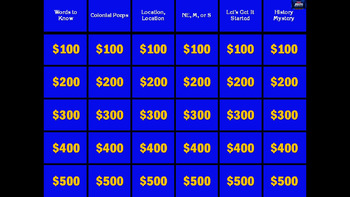 Jeopardy Colonies Review Game Sounds & Answers! SOL Interactive Game- editable