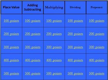 Jeopardy Common Core Decimals 5th Grade Math
