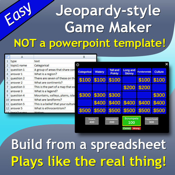 Jeopardy DLux (Windows version) - customizable game creator
