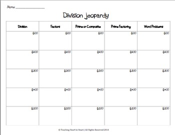 Jeopardy Division Review Game