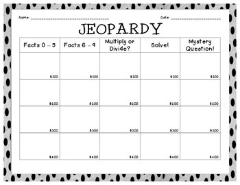 Jeopardy Division Review Game: Student Recording Sheet