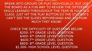 Jeopardy ELA Review for upper elementary and middle school students
