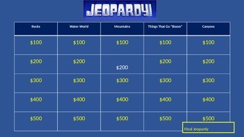Jeopardy - Earth's Natural Wonders