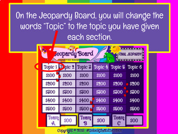 Jeopardy Editable Template Review Game Team Building - Google Slides
