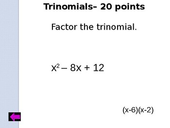 Jeopardy Factoring Polynomials