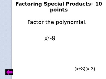 Jeopardy Review:  Factoring Polynomials