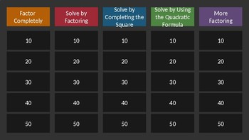 Jeopardy: Factoring & Solving for Variable Review