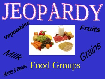 Jeopardy Food Group Game Nutrition