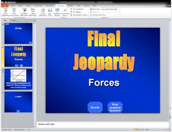 Jeopardy! Forces and Motion