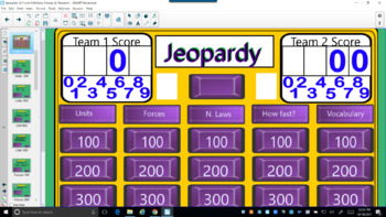 Jeopardy-Forces and motion Smart Board Lesson and  TEST with answer key