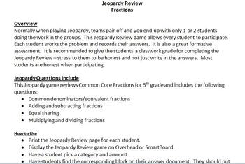 Jeopardy Fractions 5th Grade Math Common Core