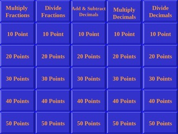 Jeopardy Fractions & Decimals