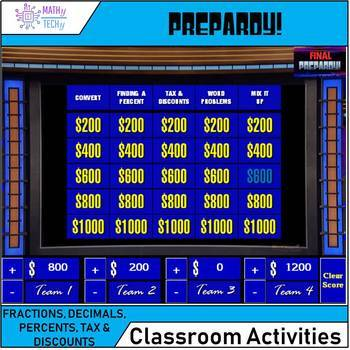 Jeopardy - Fractions, Decimals, Percent, Discounts and Taxes