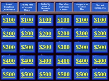 Jeopardy Game 6th Grade Common Core Geometry Unit