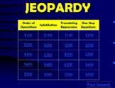 Jeopardy Game: Basic Algebra