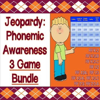 Jeopardy Game COMBO PACK: 3 Phonics & Phonemic Awareness Games!