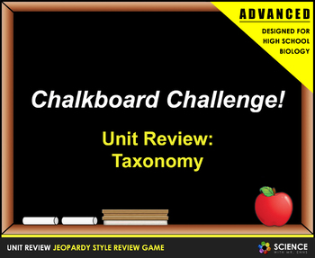 Jeopardy Game: Classification and Taxonomy Review (High School Edition)