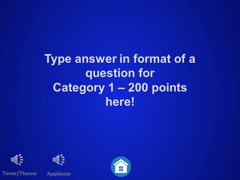 Jeopardy Game Editable Template