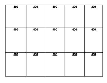 Jeopardy Game Fill-In-Sheet