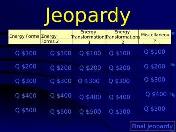 Jeopardy Game - Forms of Energy and Energy Transformations