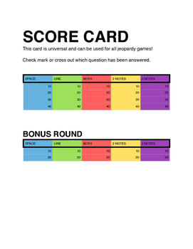 Jeopardy Game Instructions and Score Sheet
