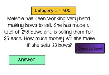 Jeopardy Game (Multiplication)