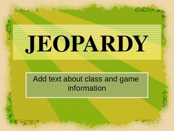 Jeopardy Game PPT Templates: Lime and Sepia Filigree