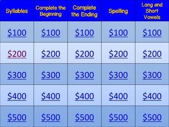 Jeopardy Game: Phonics & Phonemic Awareness (Version 1)