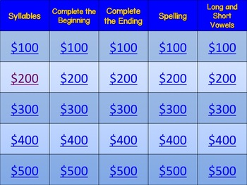 Jeopardy: Phonics & Phonemic Awareness (Version 1)