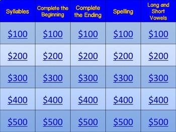 Jeopardy Game: Phonics & Phonemic Awareness (Version 2)