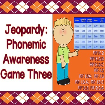 Jeopardy Game: Phonics & Phonemic Awareness (Version 3)