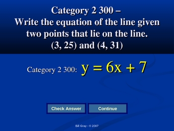 Jeopardy Game  - Rate of Change and Inequalities on Two Variables