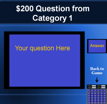 Jeopardy Template PowerPoint Game - (Keeps Scores on a Mac and a PC)