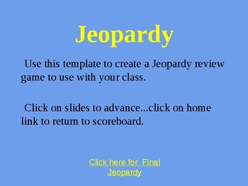 Jeopardy Game Template (Sophia's War)