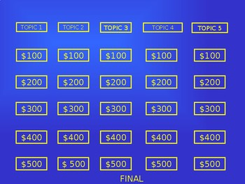 Jeopardy Game Template - add your own questions and answers