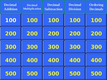 Jeopardy Game for Decimal Computation Skills