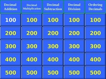 Jeopardy Game for Decimal Computation Skills
