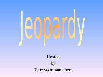 Jeopardy Game for Elmo/Other Touch Projection Technology